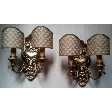 Pair of Antique Italian Carved Gilt Wood Wall Sconces with Ivory and Gold Fortuny Fabric Clip On Lamp Shades