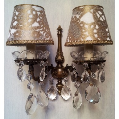 Pair of Italian Antique Brass Crystal Wall Sconces with Gold Rubelli Clip On Lamp Shades
