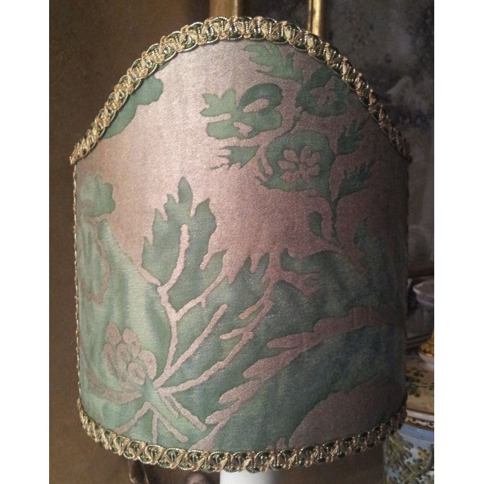 Clip-On Shield Shade Fortuny Fabric Olimpia in Green & Silvery Gold Mini Lamp Shade