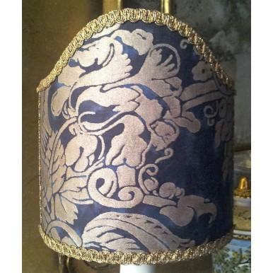 Paralume Ventola con Attacco a Molla in Tessuto Fortuny Dandolo Blu e Oro
