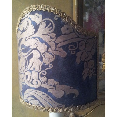 Clip-On Shield Shade Fortuny Fabric Dandolo in Midnight Blue & Silvery Gold Half Lampshade