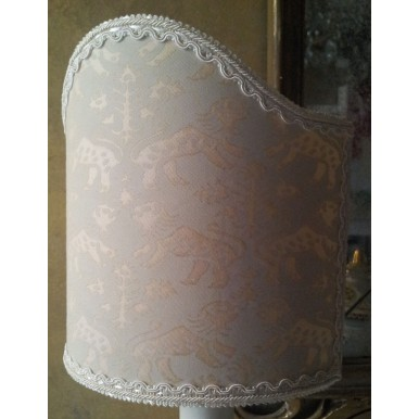 Clip-On Shield Shade Fortuny Fabric Richelieu Monotones Half Lampshade