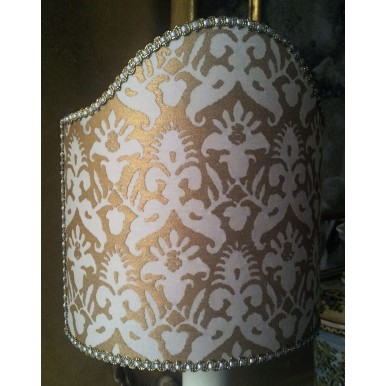 Clip-On Shield Shade Fortuny Fabric Delfino Ivory & Gold Half Lamp Shade