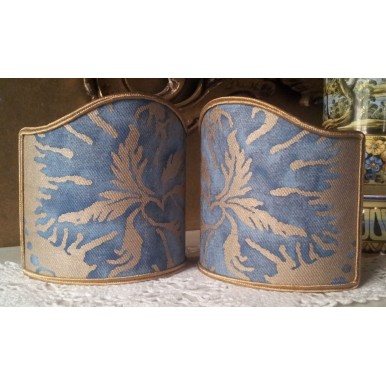 Wall Sconce Clip-On Shield Shade Fortuny Demedici in Blue and Silvery Gold