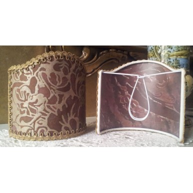 Wall Sconce Clip-On Shield Shade Fortuny Fabric Dandolo in Plum & Silvery Gold Half Lampshade
