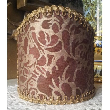 Abat Jour à Pince pour Applique Fait Main Tissu Fortuny Dandolo Prune et Or