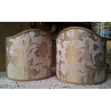 Wall Sconce Clip On Shield Shade White and Gold Silk Jacquard Rubelli Les Indes Galantes Pattern