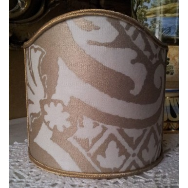 Wall Sconce Clip-On Shield Shade Fortuny Fabric Carnavalet in White & Silvery Gold Half Lampshade