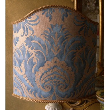 Venetian Lamp Shade Fortuny Fabric Demedici Blue & Gold Lampshade