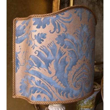 Venetian Lamp Shade Fortuny Fabric Demedici Blue & Gold Lampshade