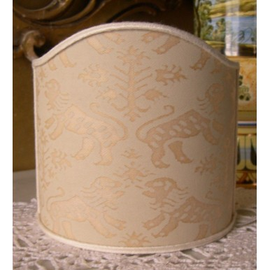 Wall Sconce Clip-On Shield Shade Fortuny Fabric Richelieu Monotones Half Lampshade
