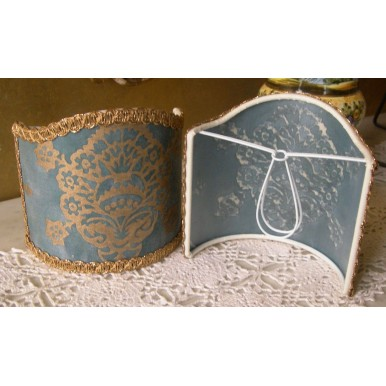 Wall Sconce Clip-On Shield Shade Fortuny Fabric Blue and Gold Veronese Half Lampshade