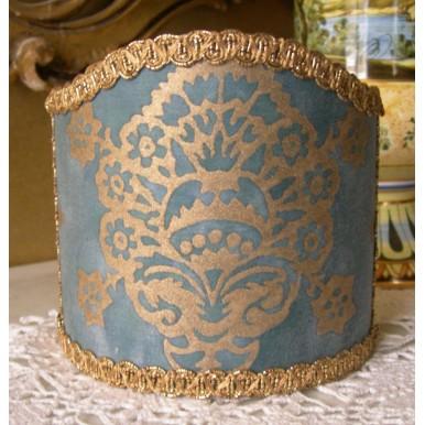 Abat Jour à Pince pour Applique Fait Main Tissu Fortuny Veronese Bleu et Or