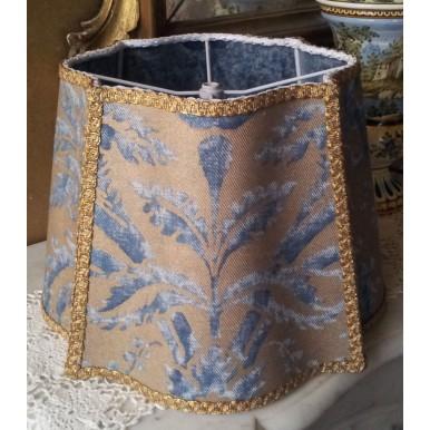 Abat Jour Florentin Tissu Imprimé à la Main Fortuny Demedici Bleu et Or
