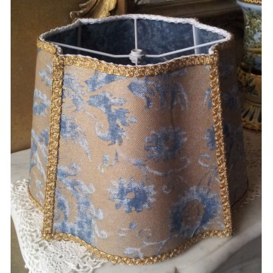 Fancy Square Lamp Shade Fortuny Fabric Blue & Silvery Gold Demedici Pattern