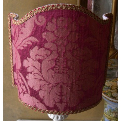 Venetian Lamp Shade in Rubelli Silk Damask Fabric Cardinal Red Ruzante Pattern Half Lampshade