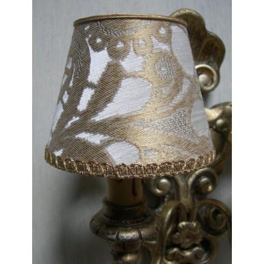 Abat Jour à Pince Pour Lustre en Tissu Lampas de Soie Rubelli Gianduja Blanc et Or