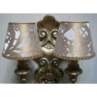 Wall Sconce Chandelier Clip On Lamp Shade in White & Gold Silk Lampas Rubelli Gianduja Pattern