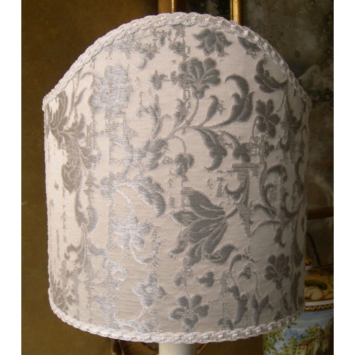 Shield Lamp Shade White and Silver Silk Jacquard Rubelli Fabric Les Indes Galantes Pattern