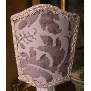 Petit Abat Jour à Pince Fait Main Tissu Fortuny Lucrezia Blanc et Gris