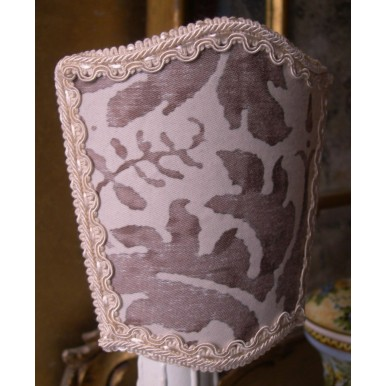Wall Sconce Venetian Clip On Shield Shade Fortuny Fabric Grey and White Lucrezia Pattern Half Lampshade