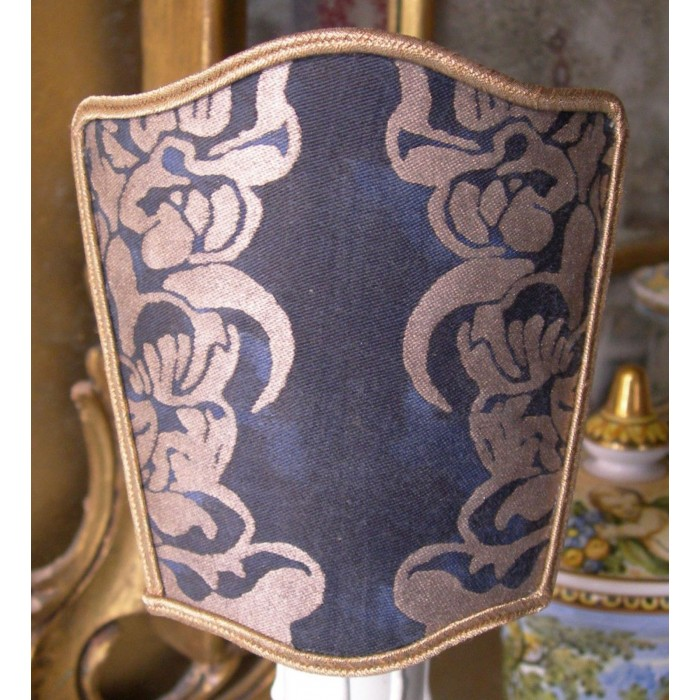 Wall Sconce Venetian Clip On Shield Shade Fortuny Fabric Midnight Blue & Silvery Gold Dandolo Pattern Half Lampshade