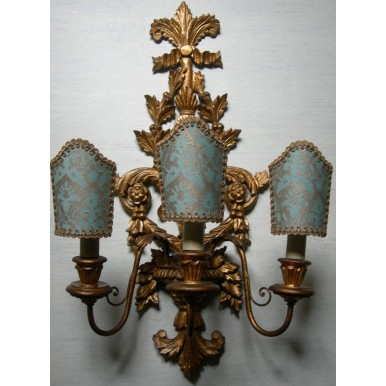 Pair of Antique Italian Carved Gilt Wood 3 Arms Wall Sconces with Aquamarine and Gold Fortuny Fabric Clip On Lamp Shades