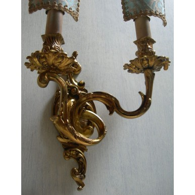 Antique Pair of French Louis XV Gilt Bronze Wall Sconces with Fortuny Fabric Clip On Shield Shades Delfino Pattern