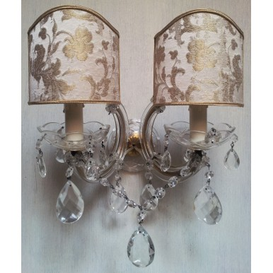 Pair of Italian Antique Maria Theresa Crystal Wall Sconces with Rubelli Silk Jacquard Fabric Clip On Lamp Shades