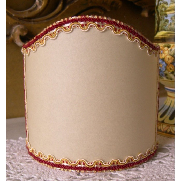 Wall Sconce Clip On Shield Shade in Cream Parchment with Red Trim Half Lampshade
