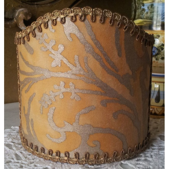 Wall Sconce Clip-On Shield Shade Fortuny Fabric Yellow and Gold Lucrezia Pattern Half Lampshade