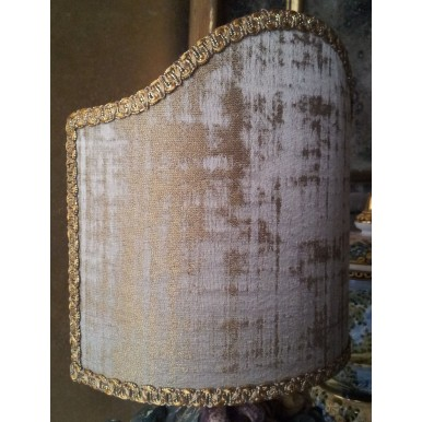 Clip On Lamp Shade in Rubelli Venier Jacquard Fabric Sand & Gold Half Lampshade