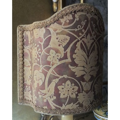 Venetian Lamp Shade in Fortuny Fabric Persepolis Tan, Olive & Plum Half Lampshade