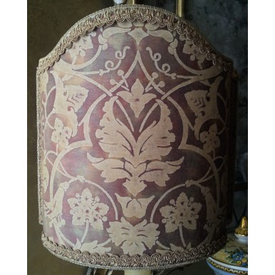 Venetian Lamp Shade in Fortuny Fabric Persepolis Tan, Olive & Plum Half Lampshade