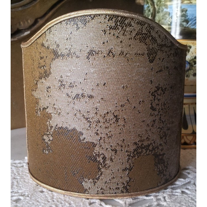 Wall Sconce Clip On Shield Shade in Bronze & Silver Jacquard Rubelli Fabric Sumi Pattern