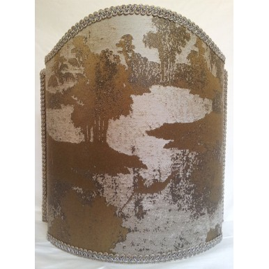 Venetian Lamp Shade Bronze and Silver Jacquard Rubelli Fabric Sumi Pattern