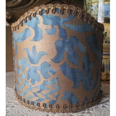 Abat Jour à Pince pour Applique Fait Main Tissu Fortuny Orsini Bleu- Vert et Or