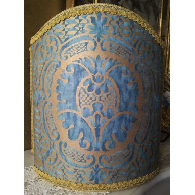 Venetian Lamp Shade Fortuny Fabric Orsini Blue-Green & Gold Lampshade