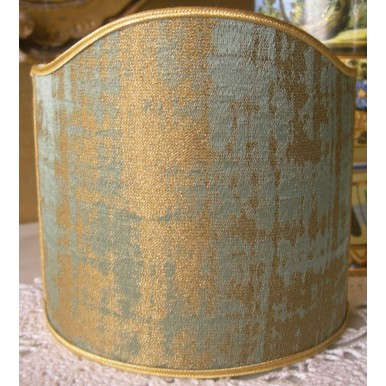 Clip On Shield Shade Reseda Green and Gold Rubelli Venier Jacquard Fabric Mini Lampshade