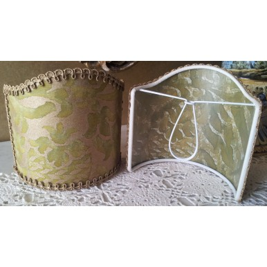 Wall Sconce Clip-On Shield Shade Fortuny Orsini in Bayou Green and Gold