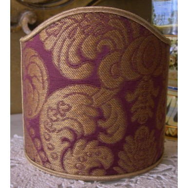 Clip On Shield Shade Amethyst and Gold Rubelli Tebaldo Silk Brocatelle Fabric Mini Lampshade