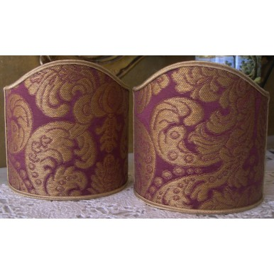 Clip On Shield Shade Amethyst and Gold Rubelli Tebaldo Silk Brocatelle Fabric Mini Lampshade