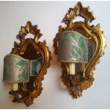 Pair of Antique Venetian Gilt Carved Wooden Mirror Wall Sconces with Fortuny Clip On Lamp Shade