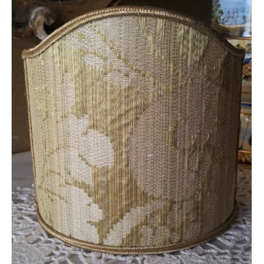 Clip-On Mini Lampshade Rubelli Ruzante Olive Green Silk Damask Fabric Shield Shade