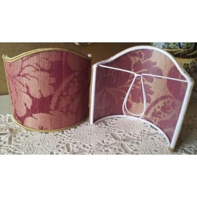 Clip-On Mini Lampshade Rubelli Ruzante Cardinal Silk Damask Fabric Shield Shade