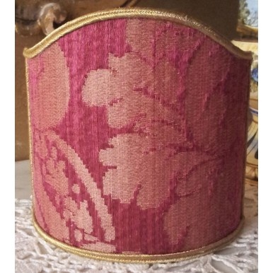 Clip-On Mini Lampshade Rubelli Ruzante Cardinal Silk Damask Fabric Shield Shade