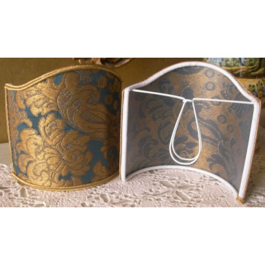 Clip On Shield Shade Blue and Gold Rubelli Tebaldo Silk Brocatelle Fabric Mini Lampshade