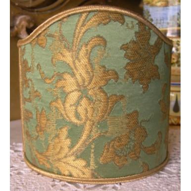 Abat Jour à Pince Fait Main en Tissu Jacquard de Soie Rubelli Les Indes Galantes Vert et Or