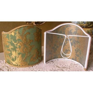 Ventolina per Applique in Tessuto Jacquard di Seta Rubelli Les Indes Galantes Verde e Oro