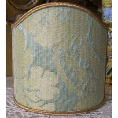 Clip-On Mini Lampshade Rubelli Ruzante Jade Silk Damask Fabric Shield Shade